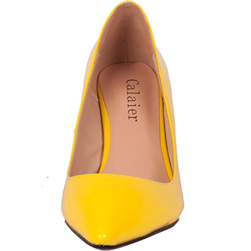 Calaier-Womens-Catalk-Ladies-Luxury-Designer-Wedding-Bridal-Evening-High-Heel-Pointed-Toe-7CM-Stiletto-Slip-on-Pumps-Yellow-11-BM-US-0-3