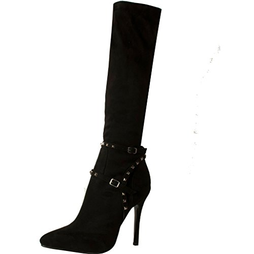 Calaier-Womens-Causually-Designer-Fashion-Sexy-Sweet-High-Heel-Rivet-Studded-Buckle-Pointed-Toe-95CM-Stiletto-Zipper-Boots-Black-10-BM-US-0
