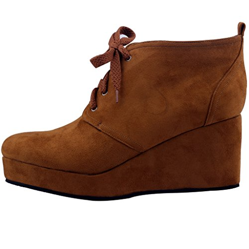 Calaier-Womens-Cawonder-Round-Toe-6CM-Wedge-Heel-Self-Tie-Boots-Shoes-Brown-95-BM-US-0-0