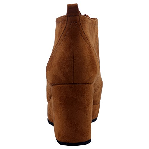 Calaier-Womens-Cawonder-Round-Toe-6CM-Wedge-Heel-Self-Tie-Boots-Shoes-Brown-95-BM-US-0-1