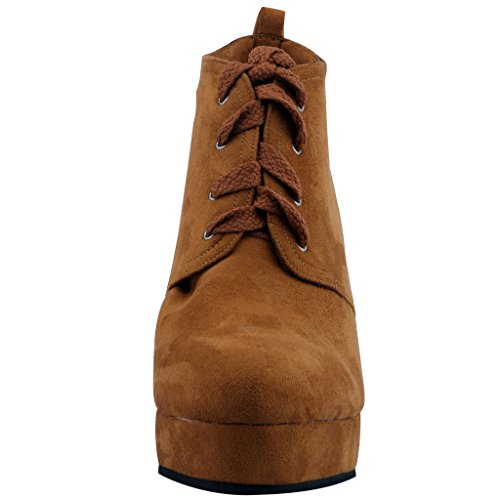 Calaier-Womens-Cawonder-Round-Toe-6CM-Wedge-Heel-Self-Tie-Boots-Shoes-Brown-95-BM-US-0-3