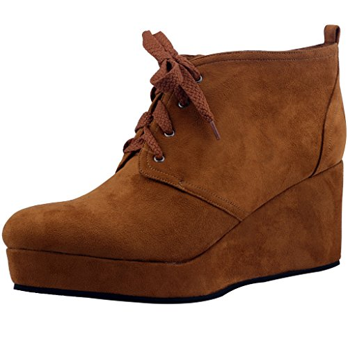 Calaier-Womens-Cawonder-Round-Toe-6CM-Wedge-Heel-Self-Tie-Boots-Shoes-Brown-95-BM-US-0