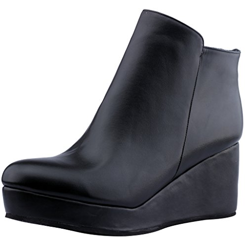 Calaier-Womens-Eleyou-Round-Toe-6CM-Wedge-Heel-Zipper-Boots-Shoes-Black-14-BM-US-0