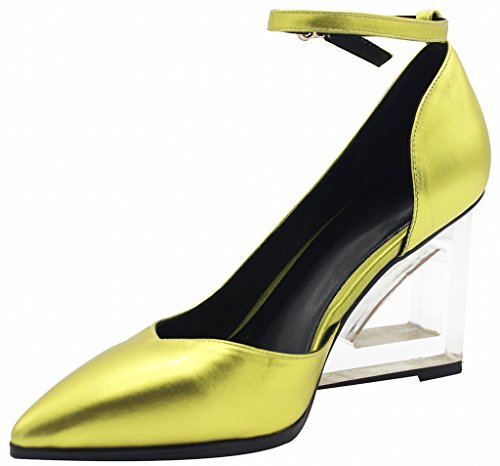 Calaier-Womens-Estdfo-Pointed-Toe-8CM-Wedge-Heel-Zipper-Pumps-Shoes-Gold-10-BM-US-0