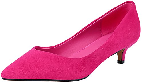 Calaier-Womens-Jtaar-Pointed-Toe-45CM-Kitten-Heel-Slip-on-Pumps-Shoes-Pink-75-BM-US-0