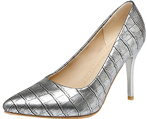 Calaier-Womens-Jtabs-Pointed-Toe-9CM-Stiletto-Slip-on-Pumps-Shoes-silver-15-BM-US-0