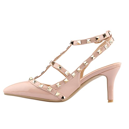 Calaier-Womens-Patent-Leather-PointedToe-85CM-Stiletto-Buckle-Sandals-Shoes-Pink-13-BM-US-0-0