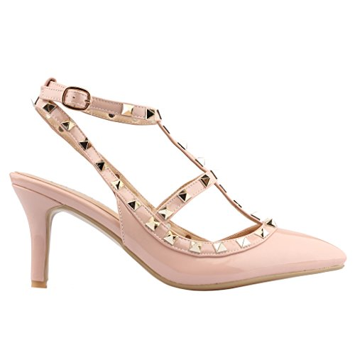 Calaier-Womens-Patent-Leather-PointedToe-85CM-Stiletto-Buckle-Sandals-Shoes-Pink-13-BM-US-0-2