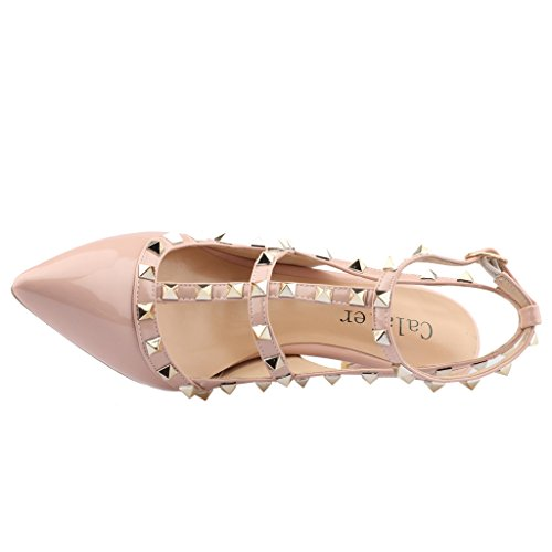 Calaier-Womens-Patent-Leather-PointedToe-85CM-Stiletto-Buckle-Sandals-Shoes-Pink-13-BM-US-0-4