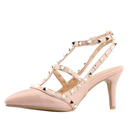 Calaier-Womens-Patent-Leather-PointedToe-85CM-Stiletto-Buckle-Sandals-Shoes-Pink-13-BM-US-0