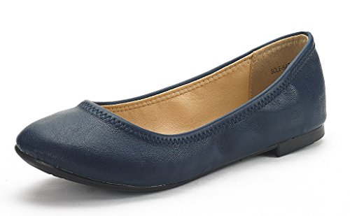 DREAM-PAIR-SOLE-HAPPY-New-Womens-Flexible-Stretch-Topline-Comfort-Ballerina-Flats-Shoes-NAVY-SIZE-12-0