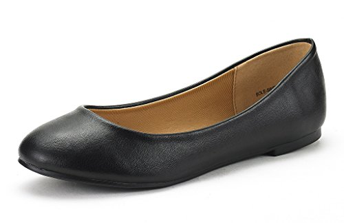 DREAM-PAIR-SOLE-SIMPLE-New-Womens-Classic-Solid-Plain-Design-Comfort-Ballerina-Walking-Flats-Shoes-BLACK-PU-SIZE-12-0