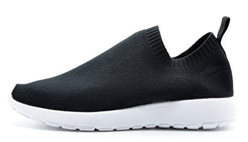 DREAM-PAIRS-160486-W-New-Fashion-Womens-Lady-Gowalk-Slip-on-Light-Weight-Recreational-Comfort-Running-Shoes-Sneakers-BLACK-WHITE-SIZE-12-0-0