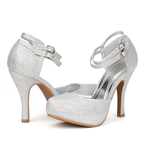 DREAM-PAIRS-OFFICE-02-Womens-Classy-Mary-Jane-Double-Ankle-Strap-Almond-Toe-High-Heel-Pumps-New-SILVER-SIZE-12-0
