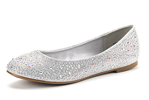 DREAM-PAIRS-SOLE-SHINE-Womens-Casual-Rhinestone-Solid-Plain-Ballet-Comfort-Soft-Slip-On-Flats-Shoes-New-Colors-SILVER-SIZE-12-0