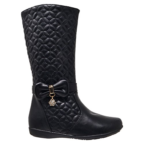 Girls-Mid-Calf-Knee-High-Boots-Quilted-Leather-Bow-Accent-Zip-Close-Riding-Shoes-Black-SZ-4-Youth-0-0
