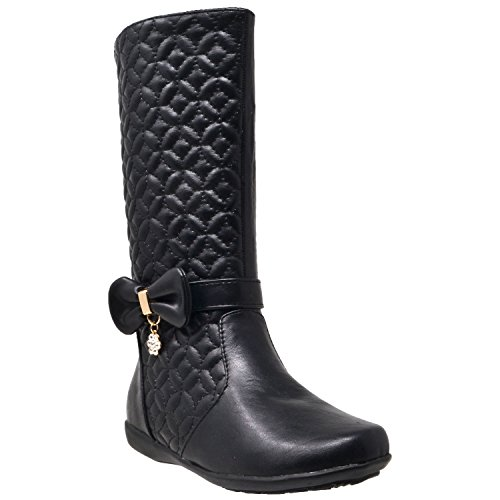 Girls-Mid-Calf-Knee-High-Boots-Quilted-Leather-Bow-Accent-Zip-Close-Riding-Shoes-Black-SZ-4-Youth-0