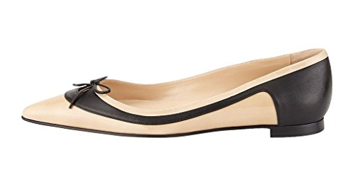 Guoar-Womens-Ballet-Flats-Big-Size-Ladies-Shoes-Multi-color-Pointed-Toe-Bowknot-Pumps-Shoes-Nude-US-5-0