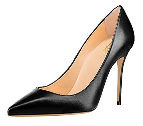 Guoar-Womens-Classic-Pointed-Toe-High-Heels-Stiletto-PU-Pumps-Dress-Shoes-Sandals-size-5-12-US-Black-US-5-0