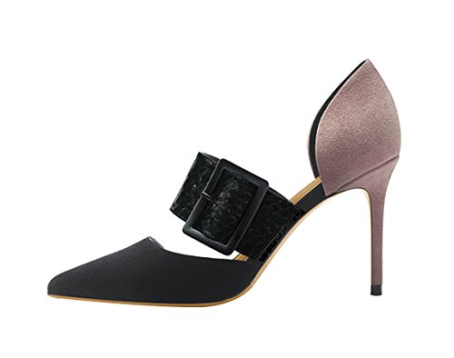 Guoar-Womens-Classic-Pointed-Toe-High-Heels-StilettoMid-Buckle-Pumps-Dress-Shoes-Sandals-size-5-12-US-Black-US-7-0