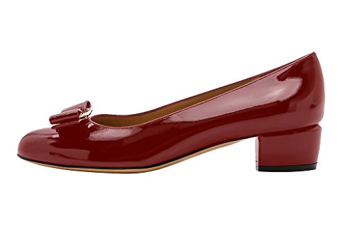 Guoar-Womens-Closed-Toe-Block-Heels-Patent-Bowknot-Pumps-Shoes-Low-Heels-For-Dress-Party-Scarlet-US-7-0