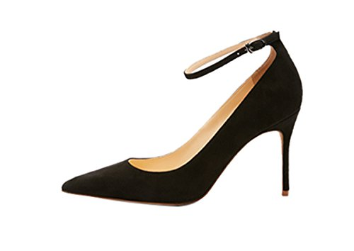Guoar-Womens-Comfort-Pointed-Toe-High-Heel-Shoes-Stiletto-Pumps-Buckle-Ankle-Strap-size-5-12-Black-US-8-0