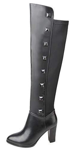 Guoar-Womens-High-Heel-Block-Big-Size-Rivet-Boots-Pointed-Toe-Zip-Knee-High-Boots-for-Casual-Party-Dress-0