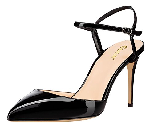 Guoar-Womens-Pointed-Toe-High-Heel-Shoes-Stiletto-Ankle-Strap-Heeled-Sandals-Pumps-size-5-12-Black-US-105-0