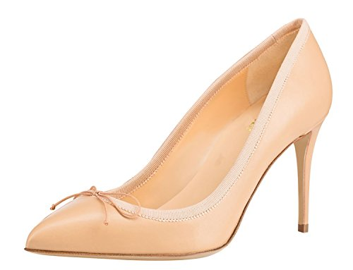 Guoar-Womens-Pointed-Toe-High-Heel-Shoes-Stiletto-Pumps-Comfort-Bowknot-Dress-Shoes-size-5-12-Nude-US-95-0