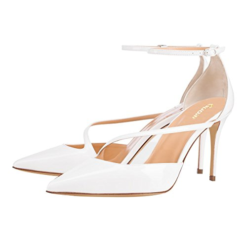 Guoar-Womens-Pointed-Toe-High-Heel-Shoes-Stiletto-Pumps-Strappy-Ankle-Strap-size-5-12-White-US-6-0-1