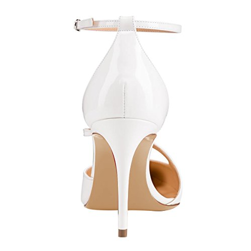 Guoar-Womens-Pointed-Toe-High-Heel-Shoes-Stiletto-Pumps-Strappy-Ankle-Strap-size-5-12-White-US-6-0-3