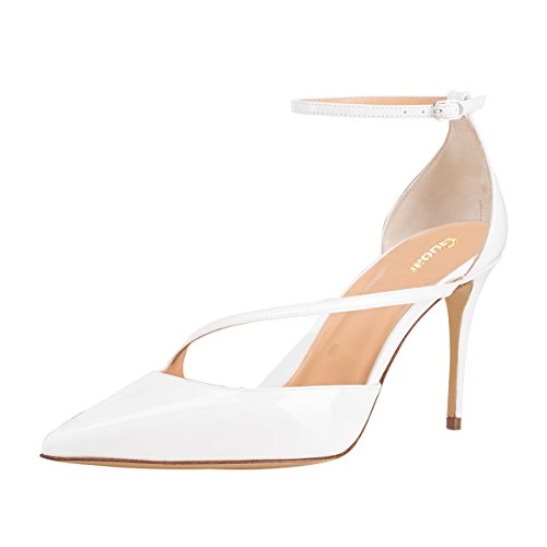 Guoar-Womens-Pointed-Toe-High-Heel-Shoes-Stiletto-Pumps-Strappy-Ankle-Strap-size-5-12-White-US-6-0