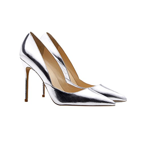 Guoar-Womens-Pointed-Toe-High-Heel-Shoes-Stiletto-Pumps-V-Cut-Dress-Shoes-size-5-12-Silver-US-11-0-0