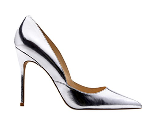 Guoar-Womens-Pointed-Toe-High-Heel-Shoes-Stiletto-Pumps-V-Cut-Dress-Shoes-size-5-12-Silver-US-11-0