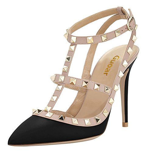 Guoar-Womens-Stiletto-Heel-Big-Size-Court-Shoes-Gladiator-Studded-Pointed-Toe-Ankle-Strap-Cut-out-Pump-Black-US55-0-0