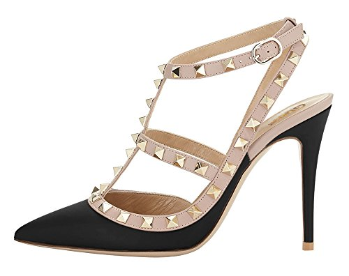 Guoar-Womens-Stiletto-Heel-Big-Size-Court-Shoes-Gladiator-Studded-Pointed-Toe-Ankle-Strap-Cut-out-Pump-Black-US55-0