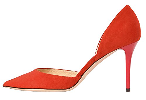 Guoar-Womens-Stiletto-Heel-Sandals-Big-Size-Solid-Shoes-Pointed-Toe-DOrsayTwo-Piece-Suede-Pumps-for-Wedding-Party-Dress-Orange-US75-0