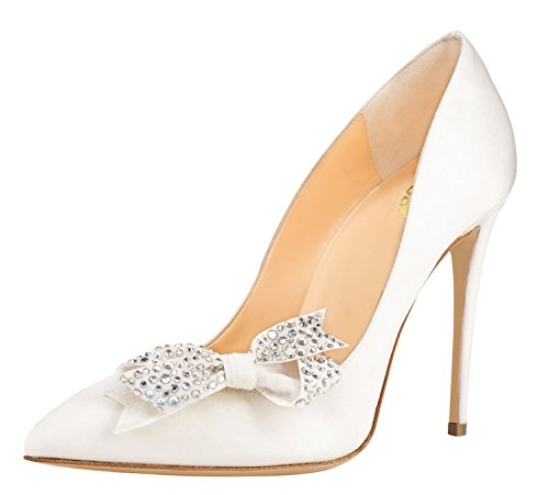 Guoar-Womens-Stiletto-Pointed-Toe-High-Heels-Pumps-Bowknot-Dress-Prom-Shoes-size-5-12-US-White-PU-US-65-0
