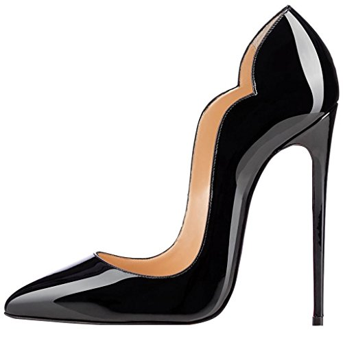 Guoar-womens-Heat-girl-Pointed-Toe-High-Heels-Black-Suede-Pumps-Shoes-size-5-12-US-115-0