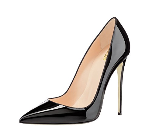 Guoar womens Pointed Toe High-Heels Black Patent leather ...