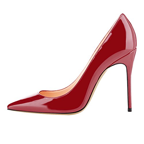 Guoar-womens-Pointed-toe-Shallow-Mouth-10CM-Stiletto-high-heel-Crimson-pumps-Size-4-12-US-45-0-0