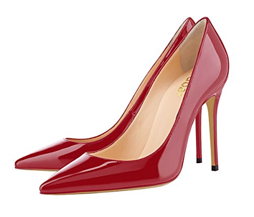 Guoar-womens-Pointed-toe-Shallow-Mouth-10CM-Stiletto-high-heel-Crimson-pumps-Size-4-12-US-45-0-1