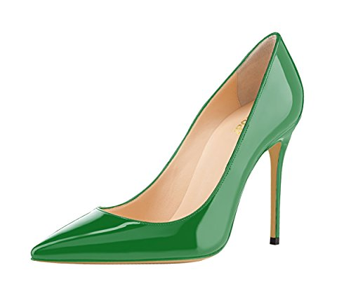 Guoar-womens-Pointed-toe-Shallow-Mouth-10CM-Stiletto-high-heel-Green-pumps-Size-4-12-US-95-0