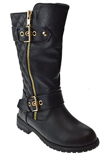 JJF-Shoes-Mango-31-Kids-Black-Round-Toe-Military-Lace-Up-Knit-Ankle-Cuff-Low-Heel-Combat-Boots-4-0