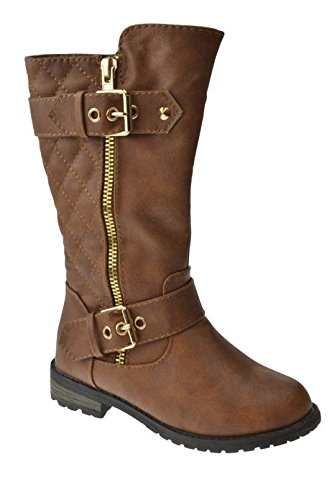 Kids-Girls-Mango21-Tan-Dual-BuckleZipper-Quilted-Mid-Calf-Motorcycle-Boots-4-0