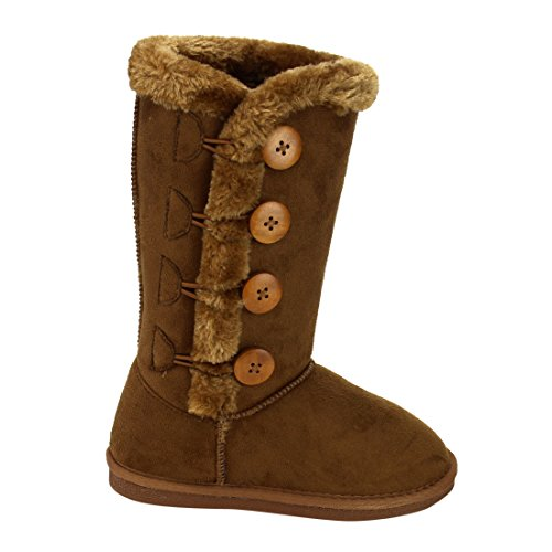 LINK-GE48-Girls-Under-Knee-High-Four-Buttons-Flat-Heel-Winter-Snow-Boots-ColorTAN-Size4-M-US-Big-Kid-0-0
