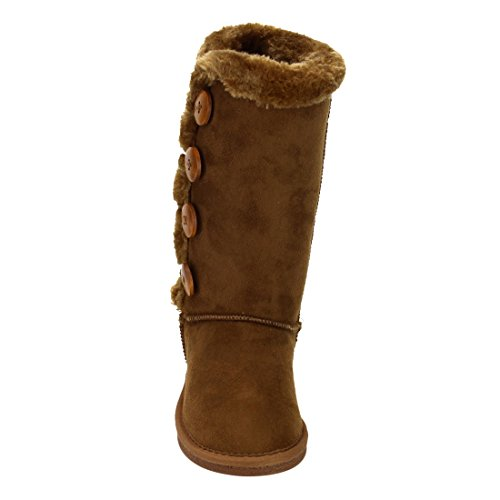 LINK-GE48-Girls-Under-Knee-High-Four-Buttons-Flat-Heel-Winter-Snow-Boots-ColorTAN-Size4-M-US-Big-Kid-0-1