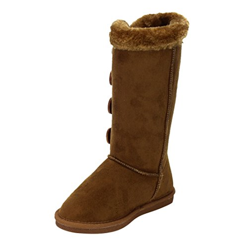 LINK-GE48-Girls-Under-Knee-High-Four-Buttons-Flat-Heel-Winter-Snow-Boots-ColorTAN-Size4-M-US-Big-Kid-0-2
