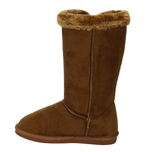 LINK-GE48-Girls-Under-Knee-High-Four-Buttons-Flat-Heel-Winter-Snow-Boots-ColorTAN-Size4-M-US-Big-Kid-0-3