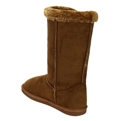 LINK-GE48-Girls-Under-Knee-High-Four-Buttons-Flat-Heel-Winter-Snow-Boots-ColorTAN-Size4-M-US-Big-Kid-0-4